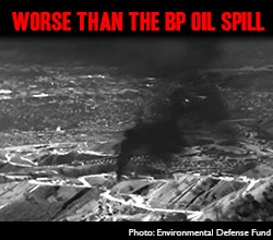 worse than the BP oil spill - photo of methane leak in Porter Ranch, Los Angeles from infrared images from Environmental Defense Fund